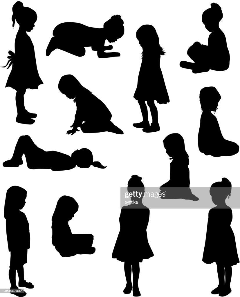 Silhouettes of children in different poses