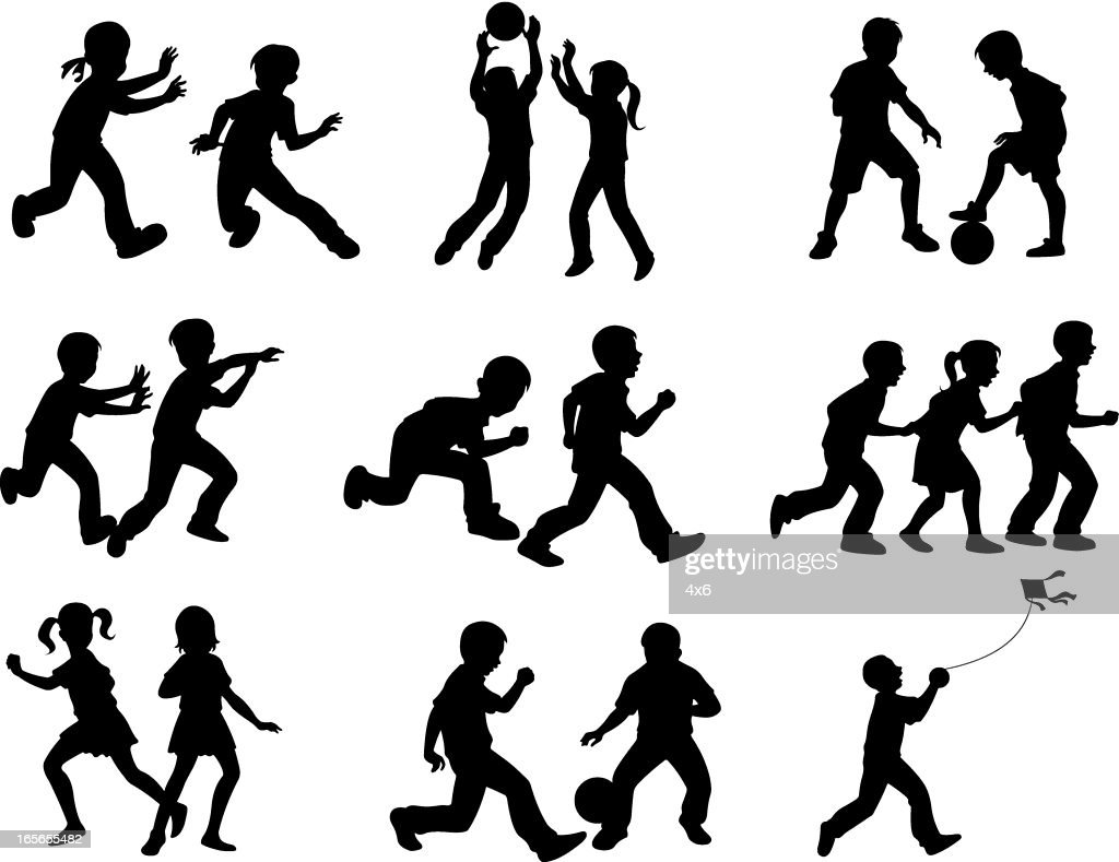 Silhouettes Of Children Playing Different Games Vector Art