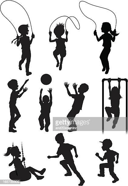 silhouettes of children playing - jump rope stock illustrations, clip art, cartoons, & icons