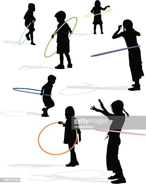 silhouettes of children playing with multicolored hula hoops - plastic hoop stock illustrations