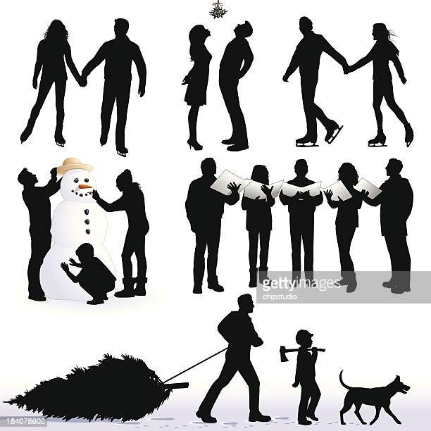 Silhouettes of Christmas activities