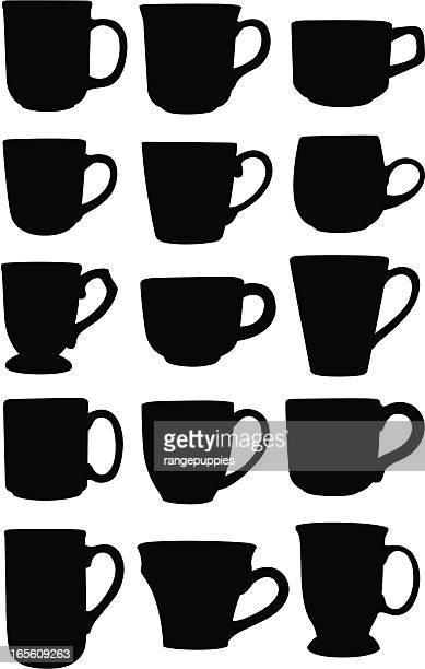 silhouettes of coffee cup varieties - handle stock illustrations