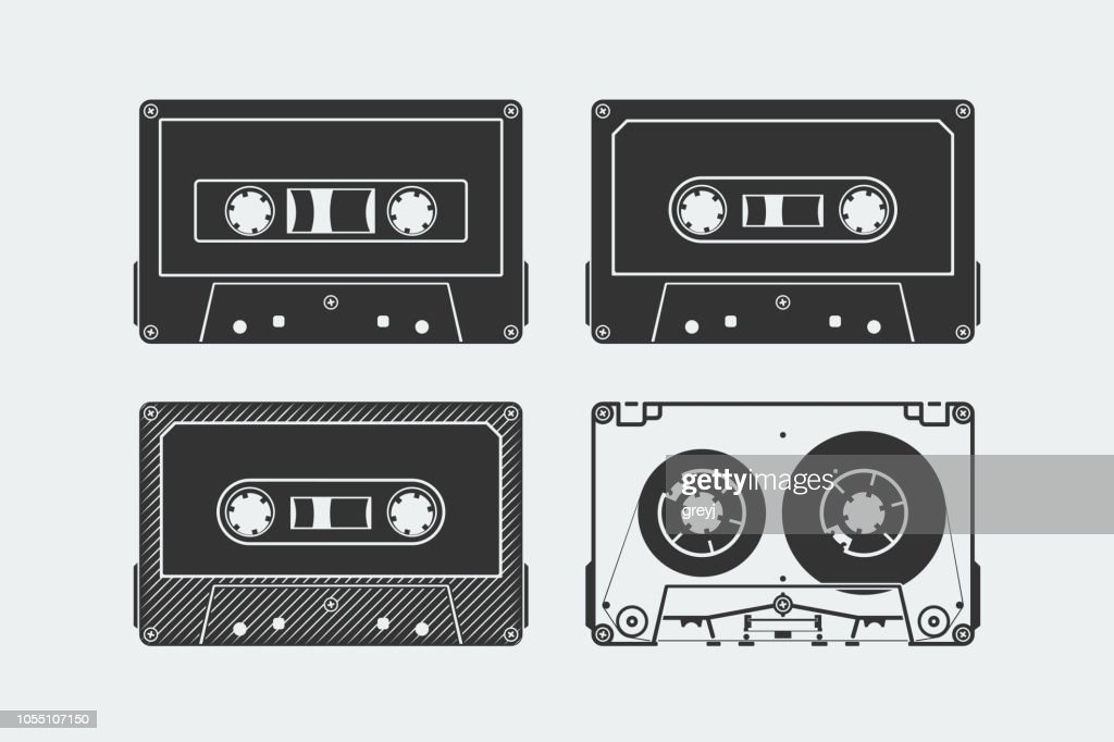 Silhouettes of compact cassettes or tapes