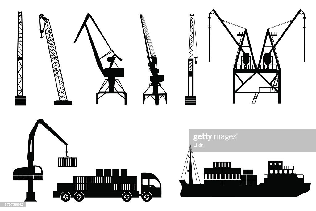 Silhouettes of cranes, truck and ship