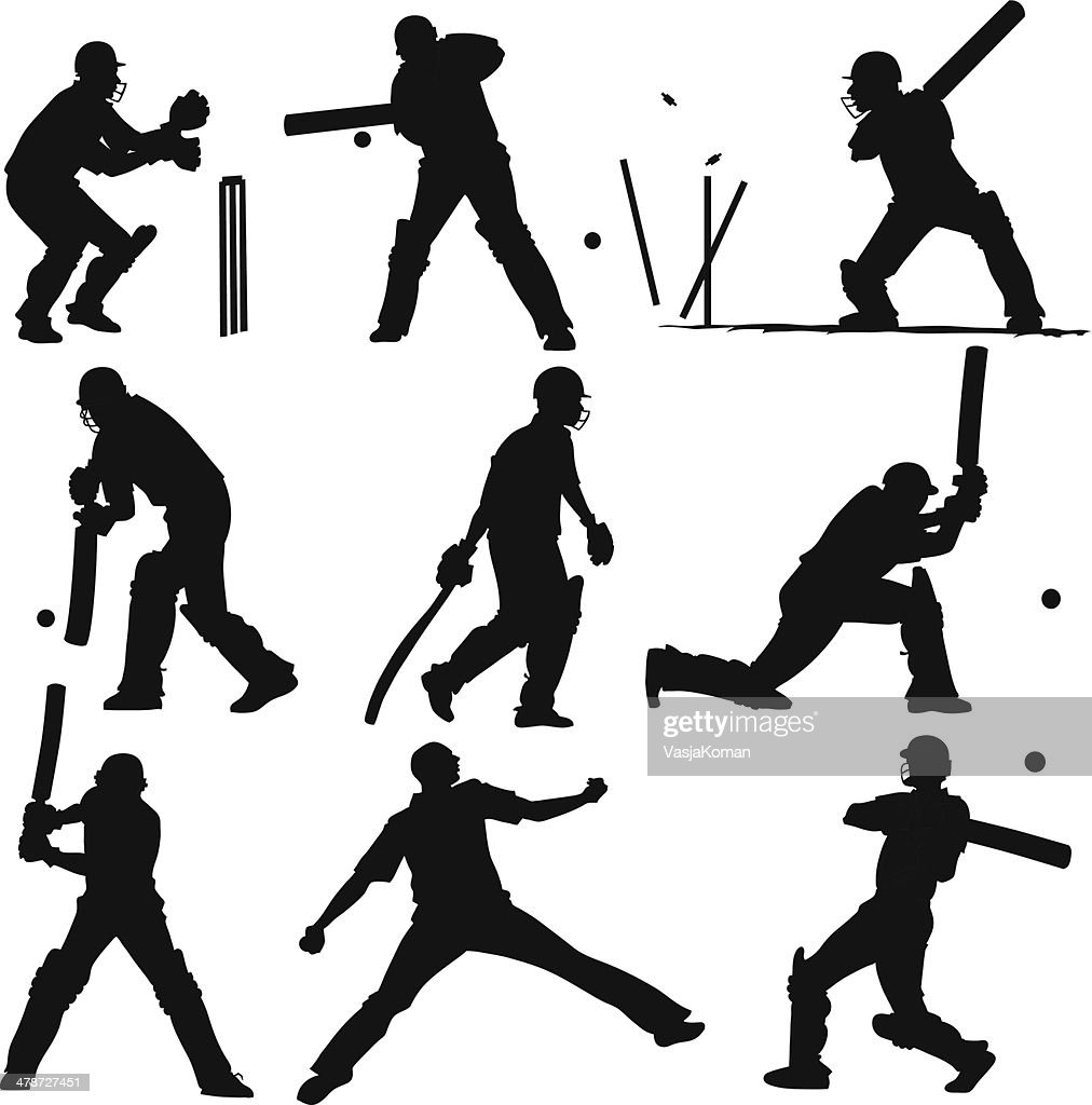 Silhouettes of Cricket Players