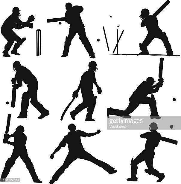 silhouettes of cricket players - cricket player stock illustrations