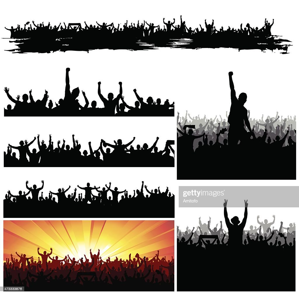 Silhouettes of crowds cheering in a big gathering