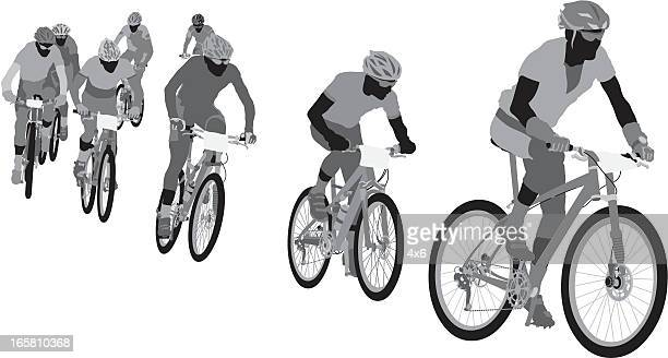 silhouettes of cyclists - racing bicycle stock illustrations