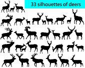33 silhouettes of deers