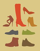 Silhouettes of different footwear tipes