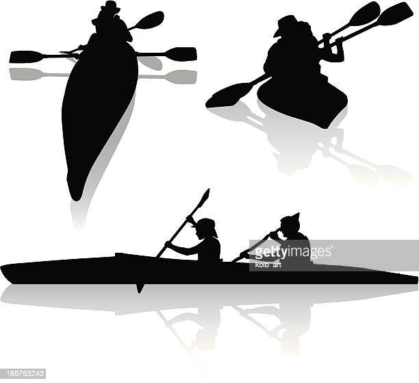 silhouettes of double kayakers kayaking - aquatic sport stock illustrations