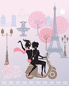 silhouettes of Effel Tower, street lights, girls riding on scooter