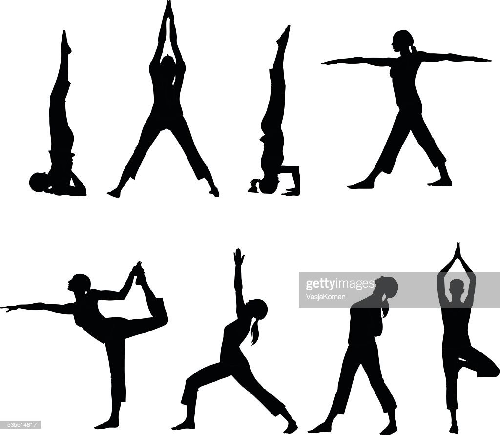 silhouettes of Eight Yoga Postures