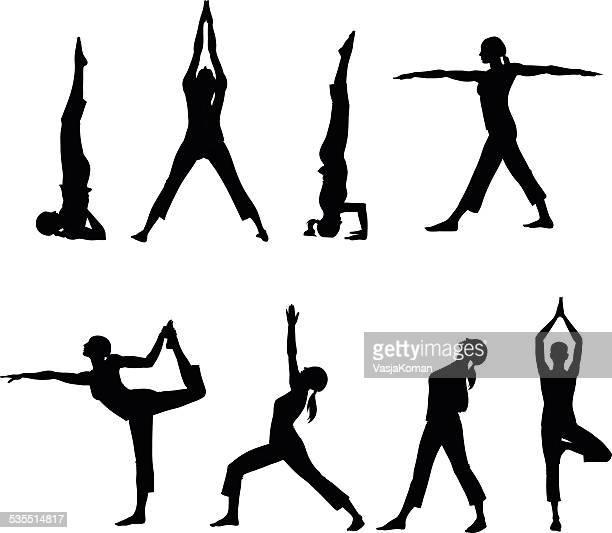ilustraciones, imágenes clip art, dibujos animados e iconos de stock de siluetas de ocho yoga postures - yoga