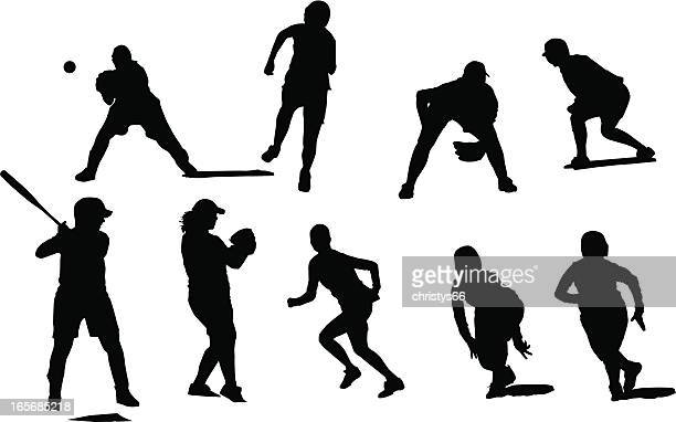 Silhouettes of female fastball players in different positions playing baseball.