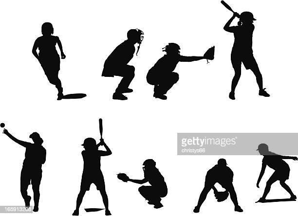 bildbanksillustrationer, clip art samt tecknat material och ikoner med silhouettes of female fastball players in different positions playing baseball. - basebollslag