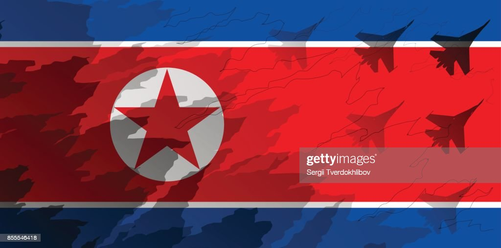 Silhouettes of fighter unit against the background of the flag of North Korea. Military background. Conflict in Asia.