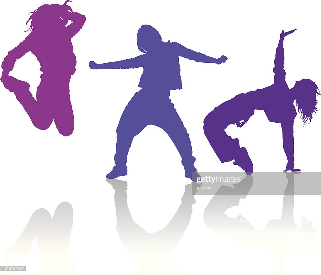 Silhouettes of girls dancing contemporary dance