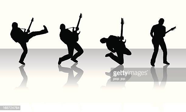silhouettes of guitarists - guitarist stock illustrations, clip art, cartoons, & icons