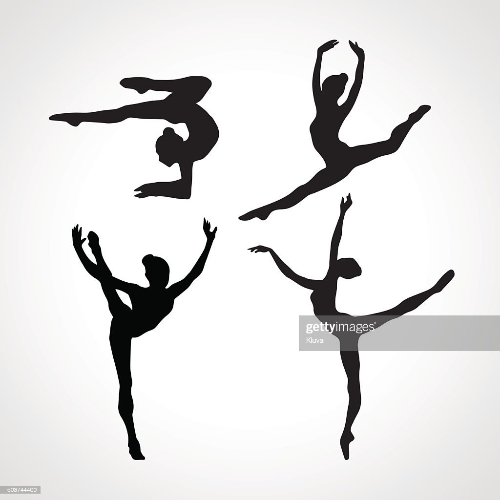 Silhouettes of gymnastic girls. Art gymnastics vector set