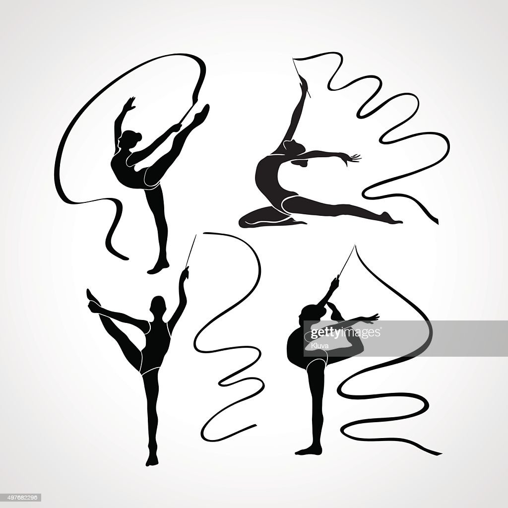 Silhouettes of gymnastic girls. Art gymnastics with ribbon, vector illustration