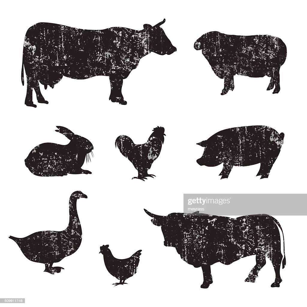 Silhouettes of hand drawn Farm animal