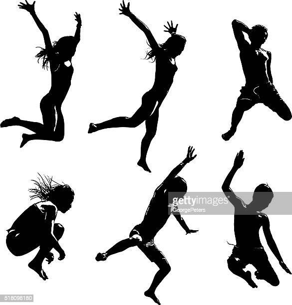 silhouettes of happy asian kids jumping - jumping stock illustrations
