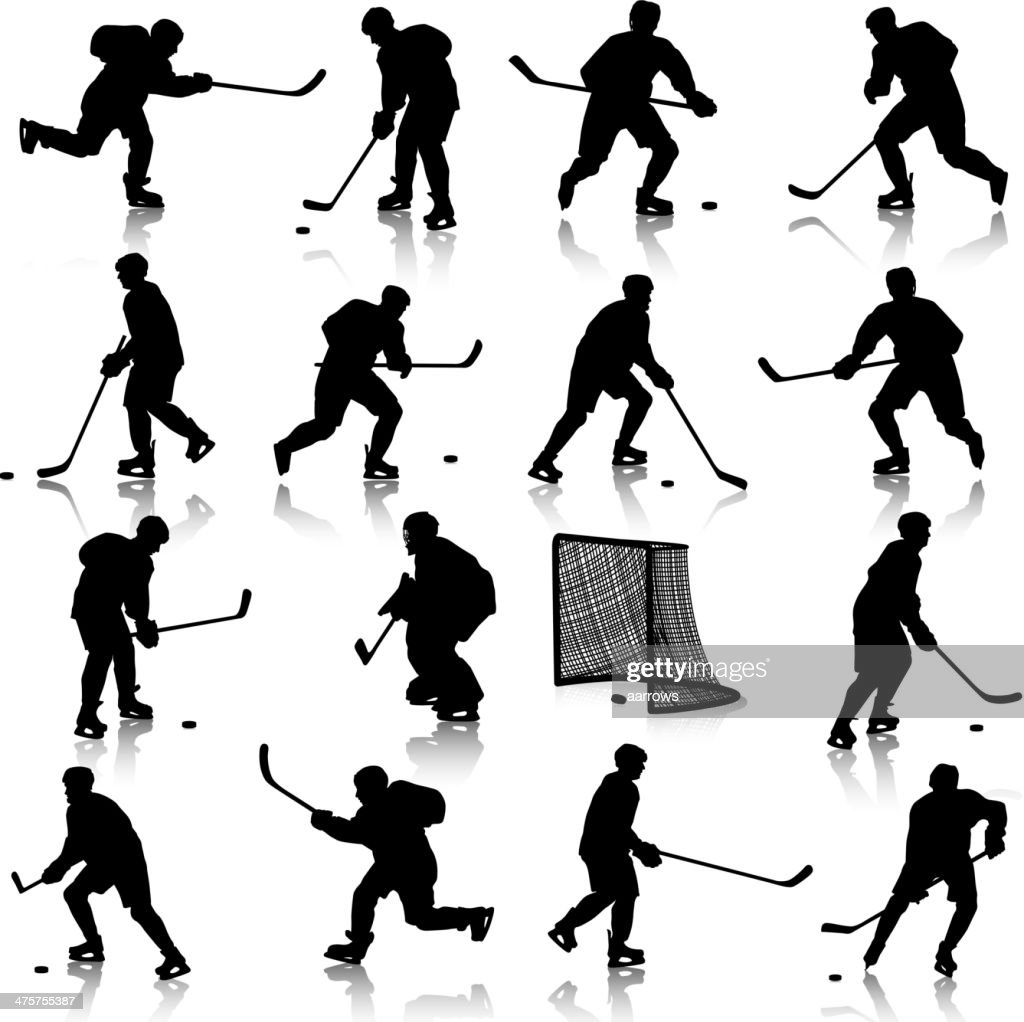silhouettes of hockey player