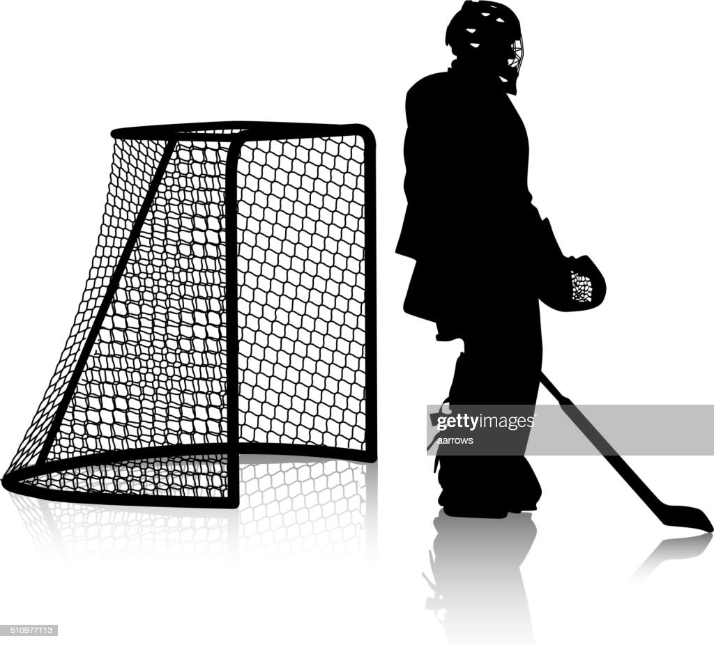 Silhouettes of hockey player.