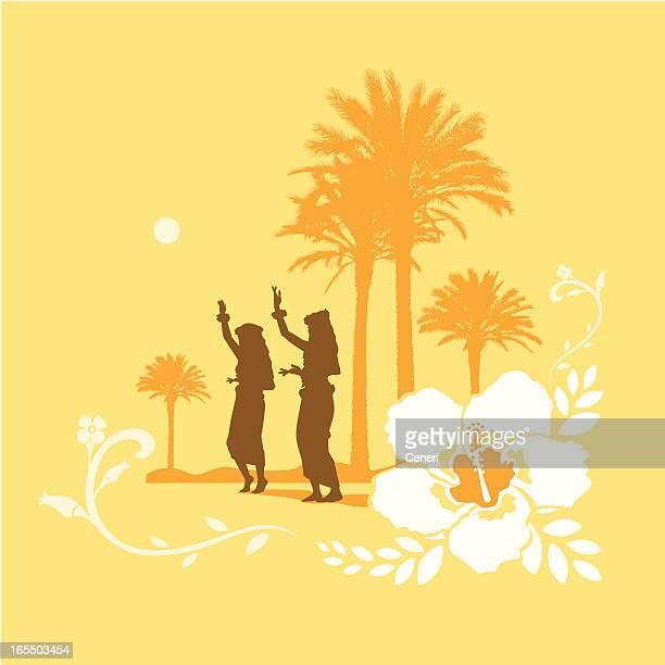 ilustraciones, imágenes clip art, dibujos animados e iconos de stock de siluetas de niñas bailando hula en un ambiente tropical - mujeres de mediana edad