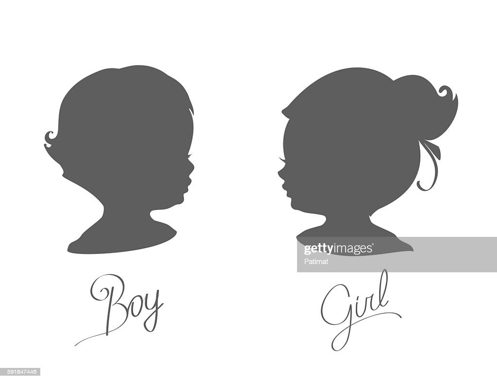 silhouettes of little boys and girls