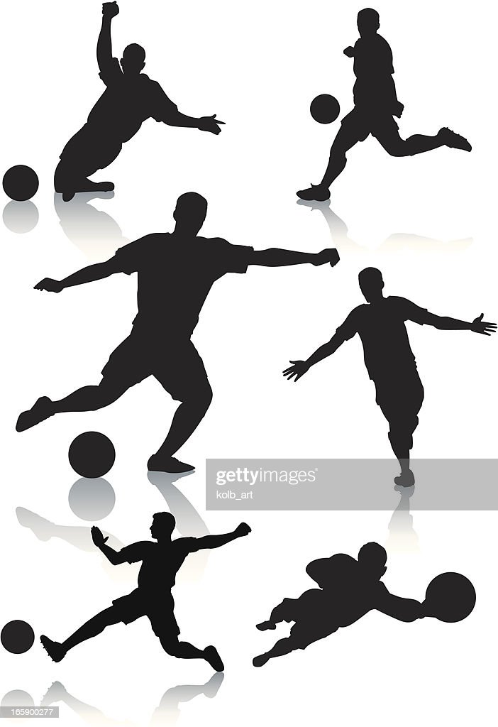Silhouettes of male soccer players