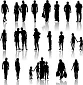 Silhouettes of men, women, and children on white background