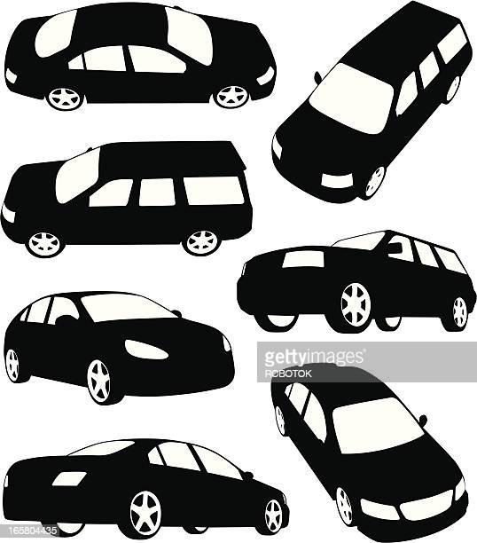 silhouettes of modern cars - suv stock illustrations, clip art, cartoons, & icons