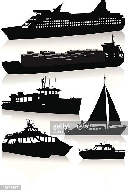 Silhouettes of modern vessels and boats