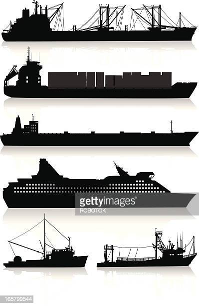 silhouettes of modern vessels and fishing boats - oil tanker stock illustrations, clip art, cartoons, & icons