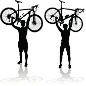 Silhouettes of mountain and road bike cyclists winning the race