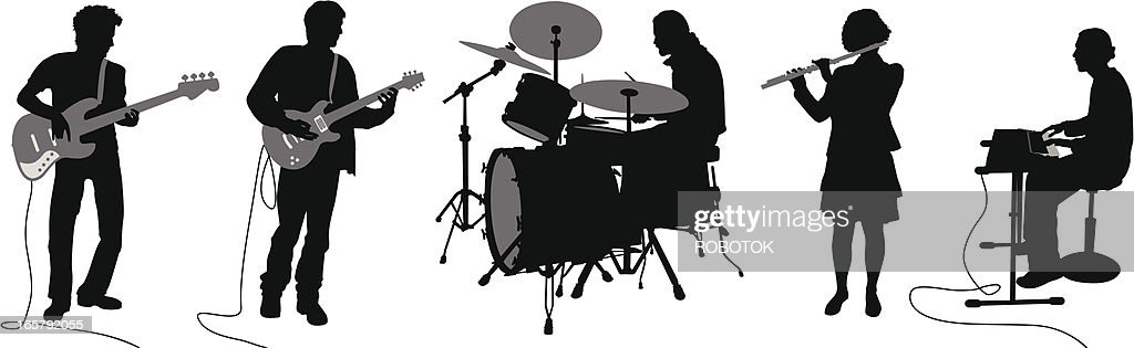 Silhouettes of musicians : stock illustration