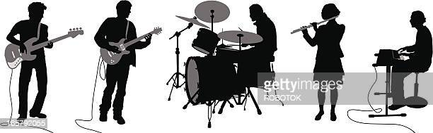 silhouettes of musicians - bass instrument stock illustrations, clip art, cartoons, & icons