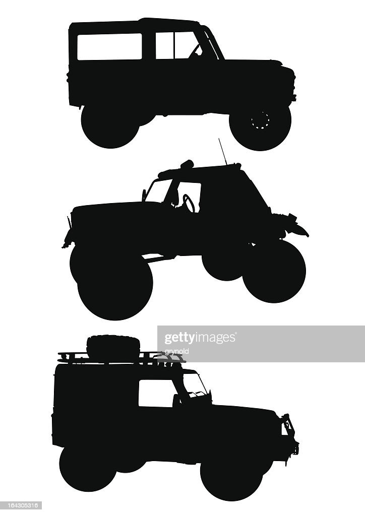 Silhouettes of off-roading vehicles