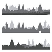 Silhouettes of old town of Prague
