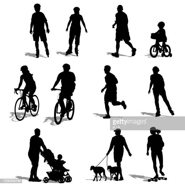silhouettes of people exercising - sportsperson stock illustrations
