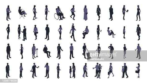 silhouettes of people icon set - mathisworks people stock illustrations