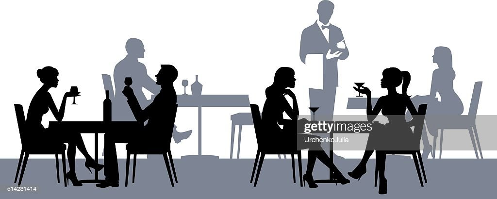 Silhouettes of people in the restaurant or cafe