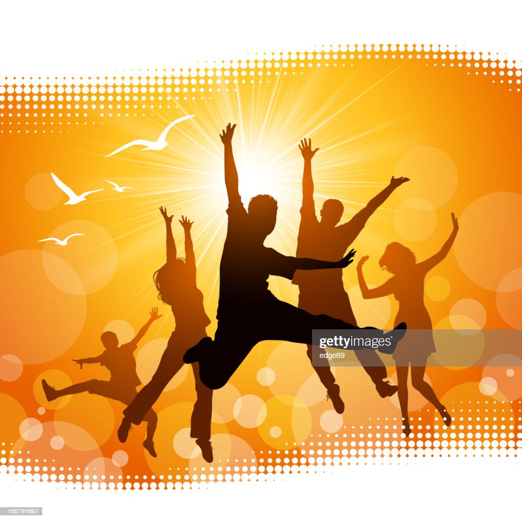 Silhouettes of people jumping with yellow background