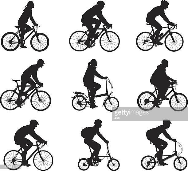 silhouettes of people riding bicycles - bicycle stock illustrations