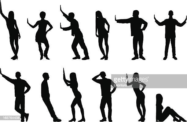 silhouettes of people - leaning stock illustrations