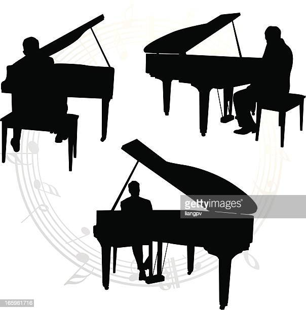 silhouettes of pianists and music notes - piano stock illustrations, clip art, cartoons, & icons