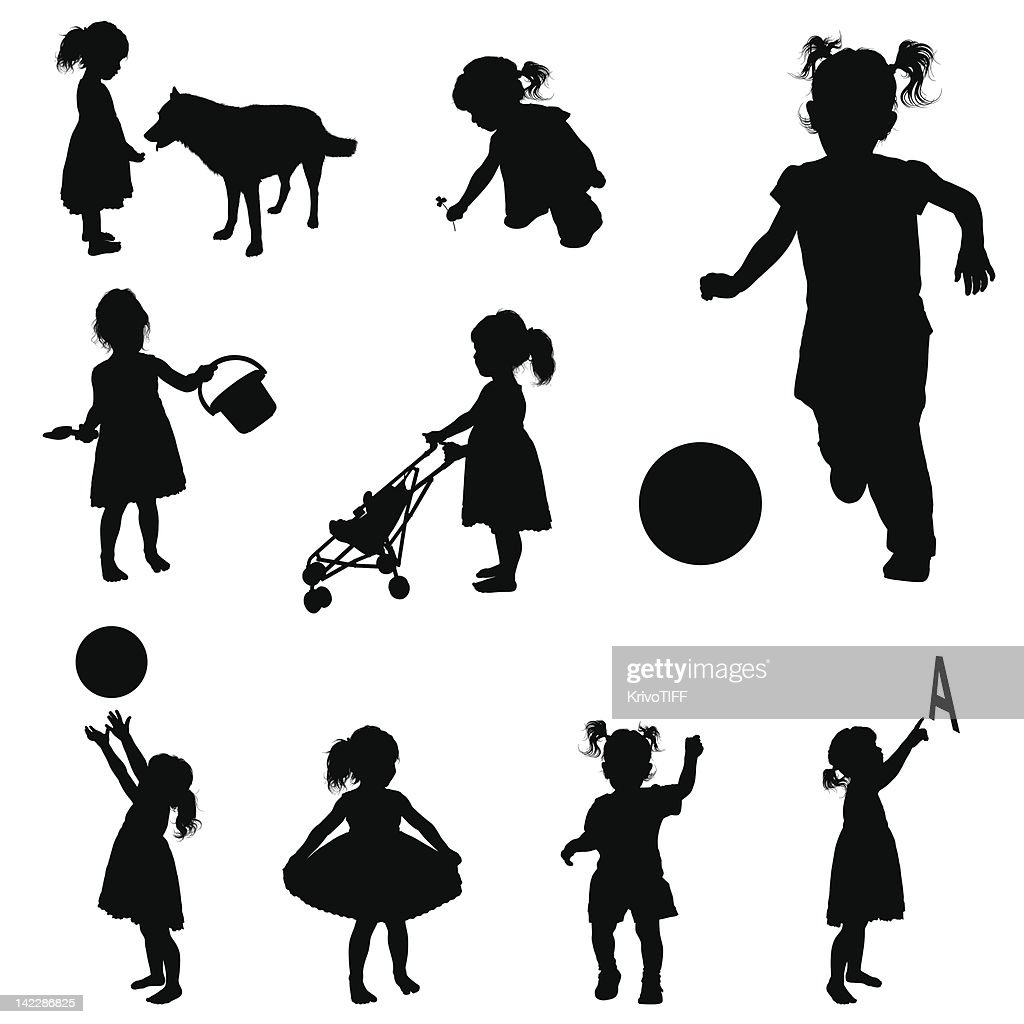 Silhouettes of playing girl. : stock illustration