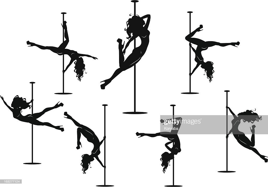 Silhouettes of pole dancers